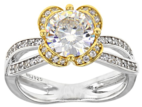 Pre-Owned White Fabulite Strontium Titanate And white zircon silver and 18k yellow gold accent ring