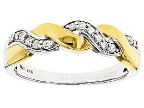 Pre-Owned Moissanite Fire® .14ctw DEW Platineve™ And 14k Yellow Gold Over Platineve Two Tone Ring