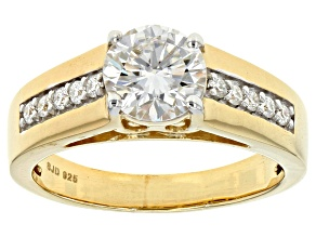 Pre-Owned Moissanite 14k Yellow Gold Over Silver Ring 1.40ctw DEW