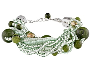 Pre-Owned Green Connemara Marble Silver Tone Brass Bracelet
