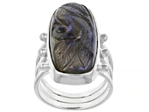 Pre-Owned Labradorite  Sterling Silver Carved Ring