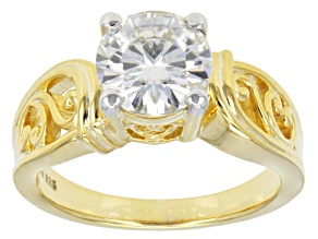 Pre-Owned Moissanite Ring 14k Yellow Gold Over Sterling Silver 1.90ct DEW