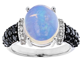 Picture of Pre-Owned Ethiopia Opal Rhodium Over Sterling Silver Ring 0.80ctw