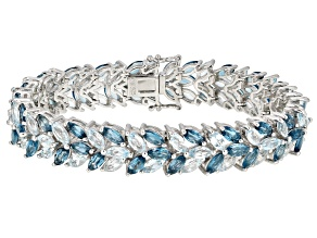 Pre-Owned Blue topaz rhodium over silver bracelet 28.20ctw
