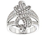 Pre-Owned White Zircon Rhodium Over Sterling Silver Ring 1.25ctw