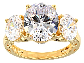 Pre-Owned Swarovski ® White Zirconia 18K Yellow Gold Over Sterling Silver Ring 12.73CTW