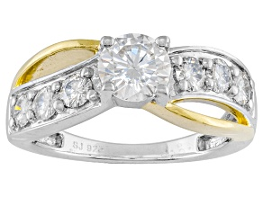 Pre-Owned Moissanite Ring Platineve™ And 14k Yellow Gold Over Silver 1.50ctw DEW.