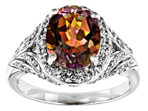 Pre-Owned Multicolor Northern Lights(TM) Quartz rhodium over silver ring 2.49ctw
