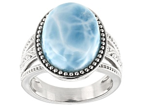 Pre-Owned Blue Larimar Rhodium Over Sterling Silver Ring