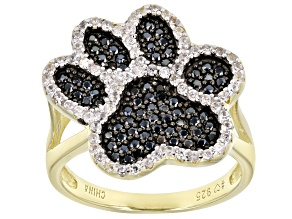 Pre-Owned Black spinel 18k gold over silver ring 1.17ctw