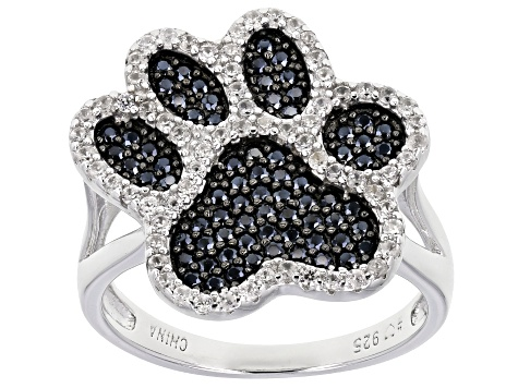Pre-Owned Black spinel rhodium over silver ring 1.17ctw