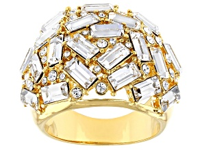 Pre-Owned Clear Crystal Gold Tone Statement Ring
