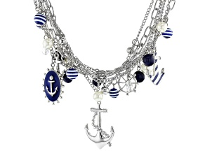Pre-Owned Blue And White Acrylic Bead Silver Tone Nautical Charm Necklace