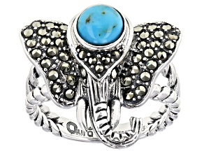 Pre-Owned Blue turquoise sterling silver elephant ring 0.58ctw