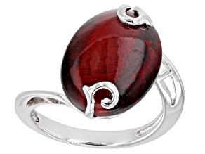 Pre-Owned Pink tiger's eye rhodium over silver ring