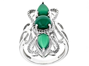 Pre-Owned Green onyx rhodium over silver ring