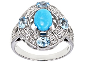 Pre-Owned Blue Sleeping Beauty Turquoise Rhodium Over Sterling Silver Ring .79ctw