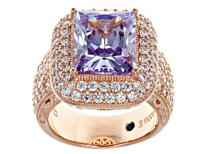 Pre-Owned Purple And White Cubic Zirconia 18k Rose Gold Over Silver Ring 9.63ctw