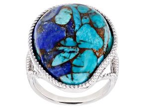 Pre-Owned Blended Turquoise And Lapis Lazuli Rhodium Over Silver Ring