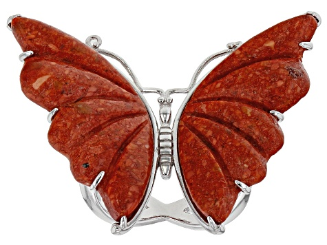 Pre-Owned Red Sponge Coral Rhodium Over Sterling Silver Butterfly Ring