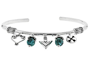 Pre-Owned Turquoise Rhodium Over Sterling Charm Cuff Bracelet