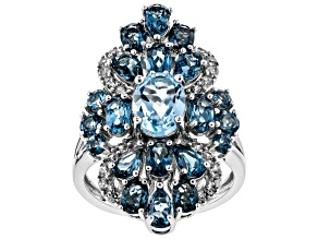 Pre-Owned Sky blue topaz rhodium over silver ring 5.27ctw