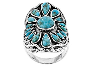 Pre-Owned Blue Turquoise Silver Ring