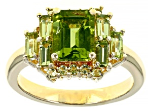 Pre-Owned Green peridot 18k yellow gold over silver ring 2.57ctw