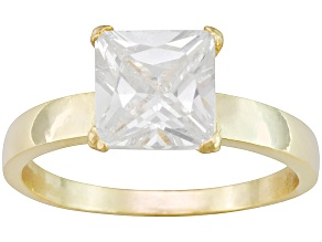 Pre-Owned Bella Luce® 4.50ct 18k Yellow Gold Over Sterling Silver Solitaire Ring