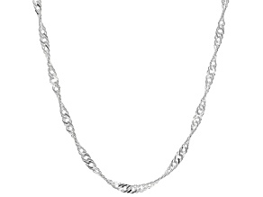 Pre-Owned Sterling Silver Diamond Cut Singapore Chain Necklace