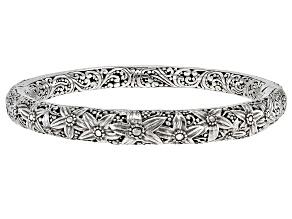 Pre-Owned Sterling Silver Floral Bangle Bracelet
