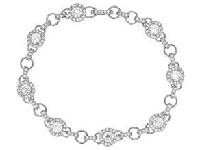 Pre-Owned White Cubic Zirconia Rhodium Over Silver Bracelet 7.21ctw