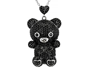 Pre-Owned Black Spinel Rhodium Over Silver Teddy Bear Pendant With Chain 5.80ctw