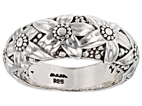 Pre-Owned Sterling Silver Floral Band Ring