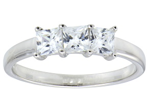 Pre-Owned Bella Luce® 1.50ctw Princess Cut White Diamond Simulant Sterling Silver Ring