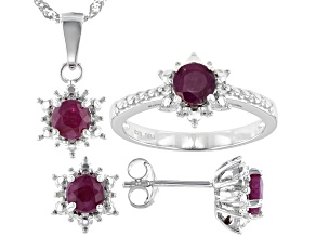 Pre-Owned Red Ruby Rhodium Over Sterling Silver Ring, Earrings And Pendant With Chain Set 2.37ctw