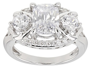 Pre-Owned White Cubic Zirconia Rhodium Over Sterling Silver Ring 4.84CTW