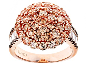 Pre-Owned Brown And White Cubic Zirconia 18K Rose Gold Over Sterling Silver Ring 6.16CTW