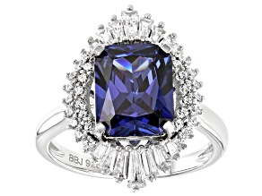 Pre-Owned Blue and White Cubic Zirconia Rhodium Over Sterling Silver Ring 7.08ctw