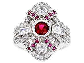 Pre-Owned Lab Created Ruby and White Cubic Zirconia Rhodium Over Sterling Silver Ring 2.10ctw