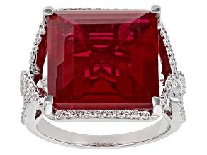 Pre-Owned Red and White Cubic Zirconia Rhodium Over Sterling Silver Ring 15.14ctw