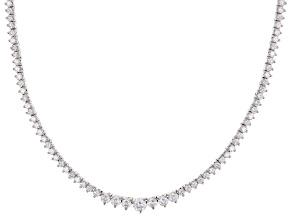 Pre-Owned White Cubic Zirconia Rhodium Over Sterling Silver Tennis Necklace 12.72ctw