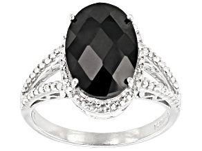 Pre-Owned Black spinel rhodium over sterling silver ring 4.41ctw