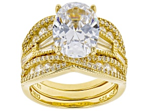 Pre-Owned White Cubic Zirconia 18K Yellow Gold Over Sterling Silver Ring With 2 Bands 10.89ctw