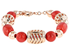 Pre-Owned Pink Coral Copper Station Bracelet
