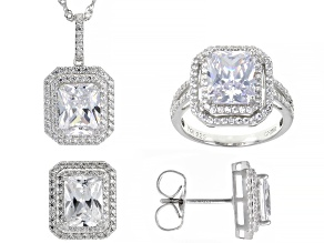 Pre-Owned White Cubic Zirconia Rhodium Over Sterling Silver Jewelry Set 22.15ctw