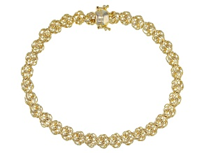 Pre-Owned 18K Yellow Gold Over Sterling Silver Rosetta Link Bracelet With Magnetic Clasp