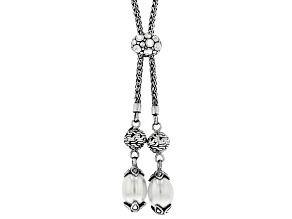 Pre-Owned White Cultured Freshwater Pearl Silver Bolo Necklace