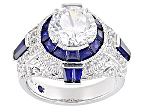 Pre-Owned Cubic Zirconia And Lab Created Sapphire Platineve Ring 7.61ctw