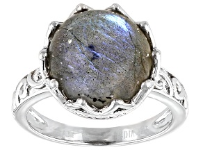 Pre-Owned Gray Labradorite Rhodium Over Sterling Silver Ring